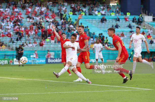 Mario Gavranovic of Switzerland scores a goal that is later disallowed by VAR for offside during the UEFA Euro 2020 Championship Group A match...