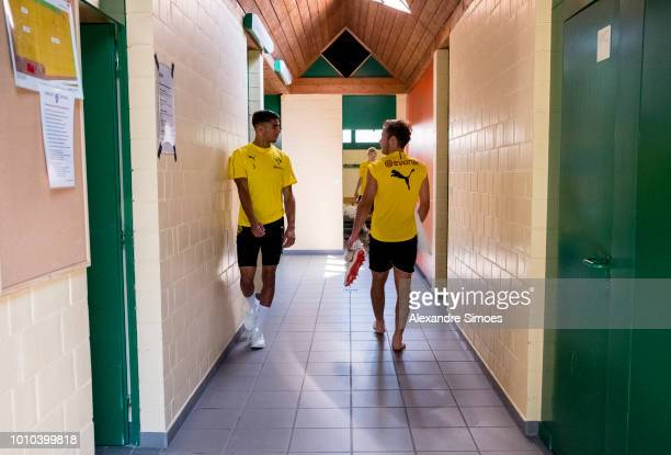 Mario Goetze and Achraf Hakimi of Borussia Dortmund during a training session as part of the training camp on August 03 2018 in Bad Ragaz Switzerland