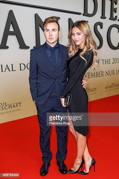 Mario Goetze and AnnKathrin Broemmel attend the 'Die Mannschaft' Premiere at Sony Centre on November 10 2014 in Berlin Germany