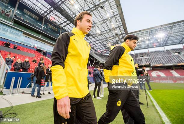 Mario Goetze and Mahmoud Dahoud of Borussia Dortmund during the training session prior to the UEFA Europa League match between FC Red Bull Salzburg...