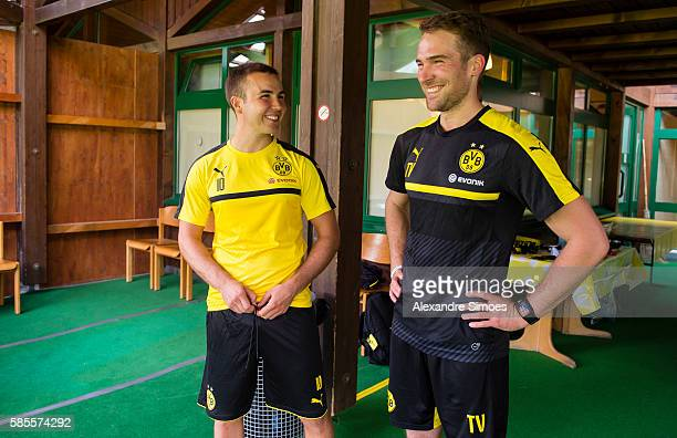 Mario Goetze and Physio Thorben Voeste of Borussia Dortmund during a training session on the training ground of Bad Ragaz during Borussia Dortmund's...