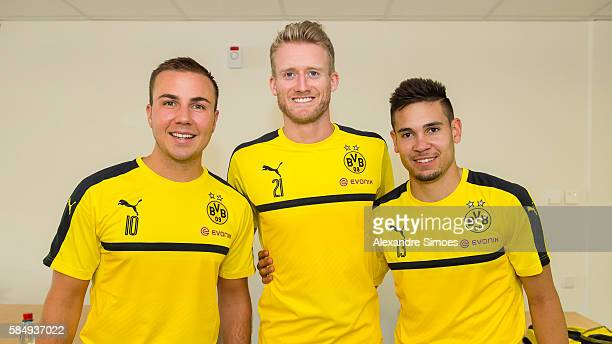 Mario Goetze Andre Schuerrle and Raphael Guerreiro of Borussia Dortmund during the spiroergometry and lactate test at the RuhrUniversity Bochum on...
