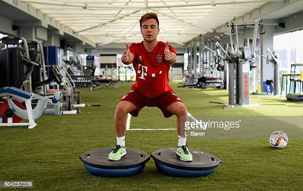 Mario Goetze is seen during a training session in the gym at day five of the Bayern Muenchen training camp at Aspire Academy on January 10 2016 in...