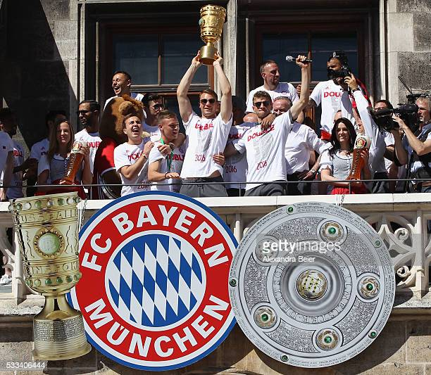 Mario Goetze Joshua Kimmich Manuel Neuer Jerome Boateng and Thomas Mueller of FC Bayern Muenchen celebrate the team's German Cup and German...