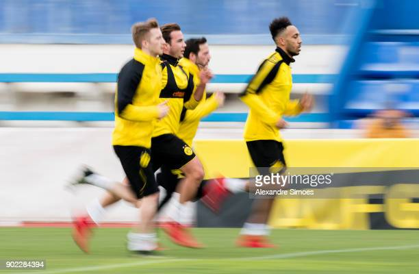 Mario Goetze Marco Reus and PierreEmerick Aubameyang of Borussia Dortmund during a training session as part of the training camp at the Estadio...