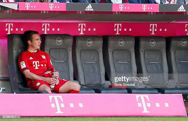 Mario Goetze of Bayern Muenchen sits on the bench after his substitution during the Bundesliga match between Bayern Muenchen and Borussia...