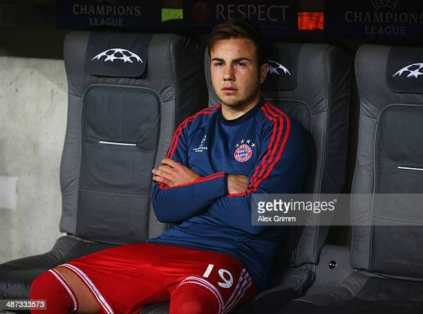 Mario Goetze of Bayern Muenchen sits on the bench during the UEFA Champions League semifinal second leg match between FC Bayern Muenchen and Real...