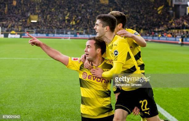 Mario Goetze of Borussia Dortmund celebrates after scoring the goal to the 30 during the Bundesliga match between Borussia Dortmund and FC Schalke 04...