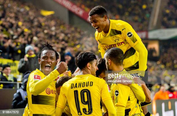 Mario Goetze of Borussia Dortmund cheers after scoring his team's 2nd goal with his team during the Bundesliga match between Borussia Dortmund and...