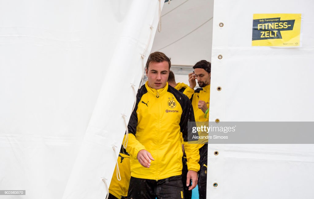 Mario Goetze of Borussia Dortmund during a rainy training session as part of the training camp at the Estadio Municipal de Marbella on January 08, 2018 in Marbella, Spain.