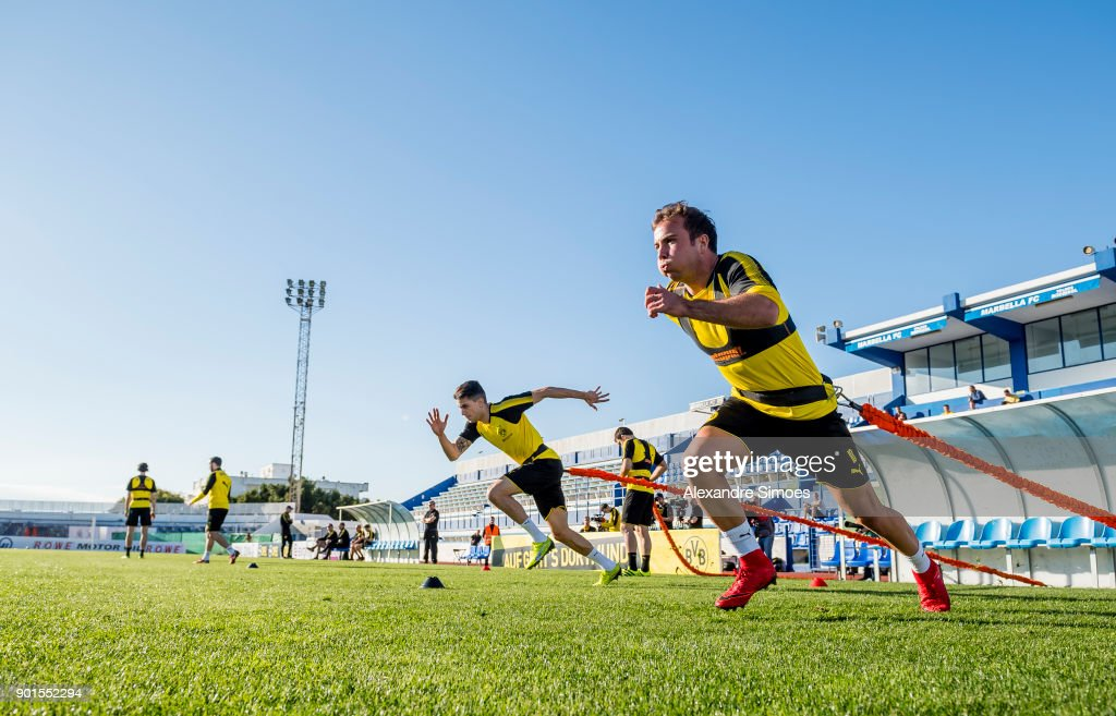 Mario Goetze of Borussia Dortmund during a training session as part of the training camp at the Estadio Municipal de Marbella on January 05, 2018 in Marbella, Spain.