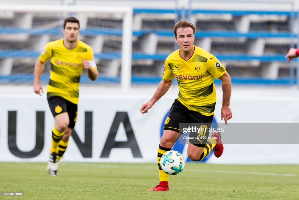 Mario Goetze of Borussia Dortmund in action during a friendly match between Borussia Dortmund and SV Zulte Waregem as part of the training camp at the Estadio Municipal de Marbella on January 08, 2018 in Marbella, Spain.