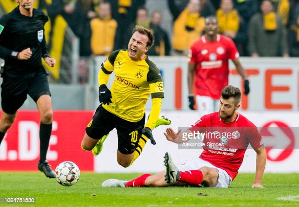 Mario Goetze of Borussia Dortmund in action during the Bundesliga match between 1 FSV Mainz 05 and Borussia Dortmund at the Opel Arena on November 24...