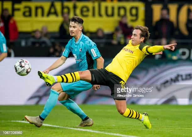 Mario Goetze of Borussia Dortmund in action during the Bundesliga match between Borussia Dortmund and SC Freiburg at the Signal Iduna Park on...
