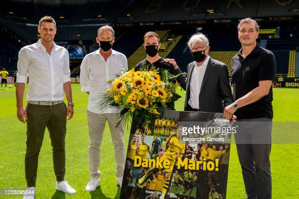 Mario Goetze of Borussia Dortmund is getting his official farewell from the club prior to the Bundesliga match between Borussia Dortmund and TSG 1899...