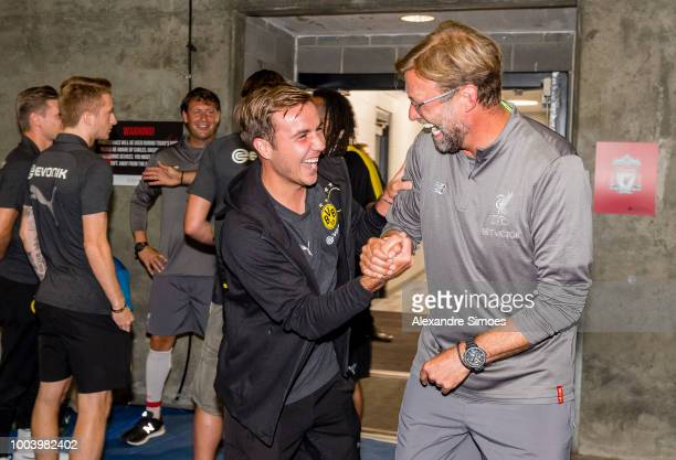 Mario Goetze of Borussia Dortmund together with Juergen Klopp head coach of Liverpool before the International Champions Cup 2018 as part of the...