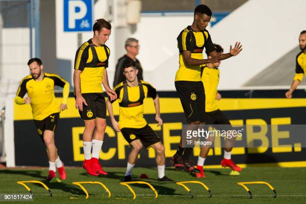 Mario Goetze of Dortmund and Alexander Isak of Dortmund in action during the Borussia Dortmund training camp at Marbella Football Center on January...