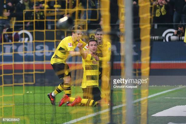 Mario Goetze of Dortmund celebrates after he scored a goal to make it 30 during the Bundesliga match between Borussia Dortmund and FC Schalke 04 at...