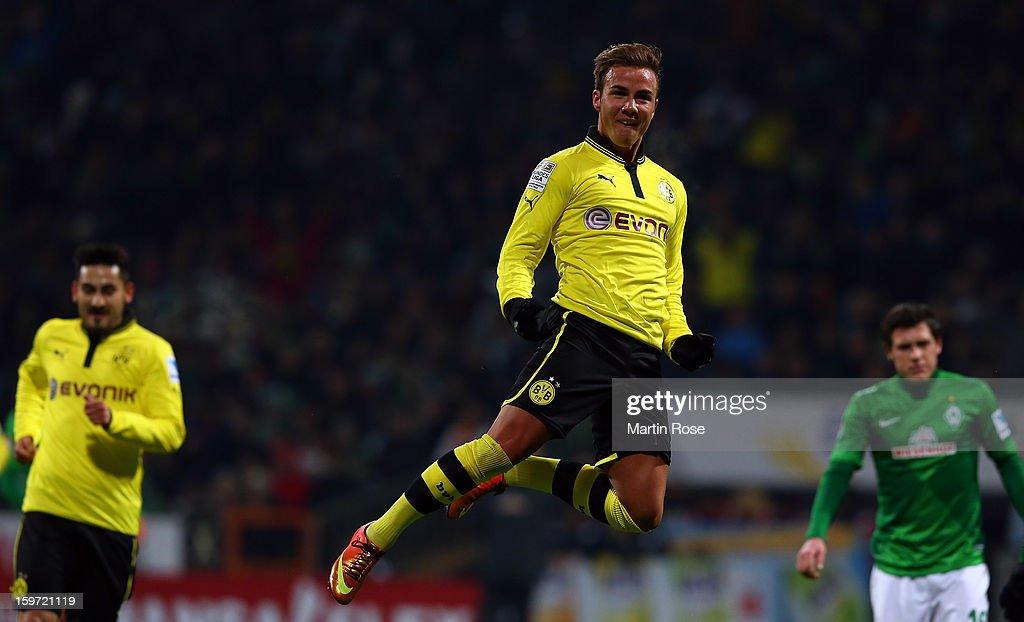 Mario Goetze of Dortmund celebrates after he scores his team's 2nd goal during the Bundesliga match between Werder Bremen and Borussia Dortmund at Weser Stadium on January 19, 2013 in Bremen, Germany.