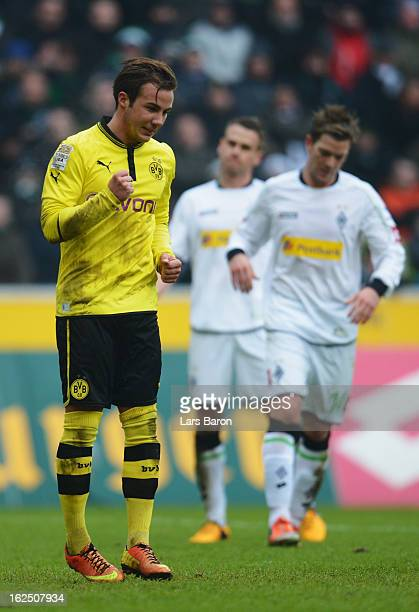 Mario Goetze of Dortmund celebrates after scoring his teams first goal during the Bundesliga match between VfL Borussia Moenchengladbach and Borussia...