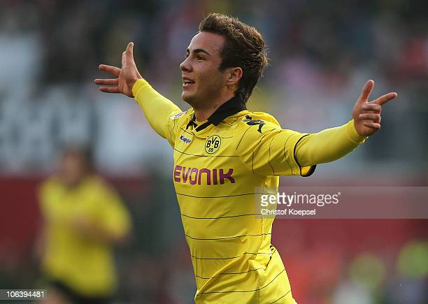 Mario Goetze of Dortmund celebrates the first goal during the Bundesliga match between FSV Mainz 05 and Borussia Dortmund at Bruchweg Stadium on...