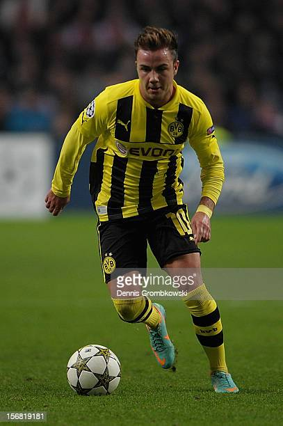 Mario Goetze of Dortmund controls the ball during the UEFA Champions League Group D match between Ajax Amsterdam and Borussia Dortmund at Amsterdam...