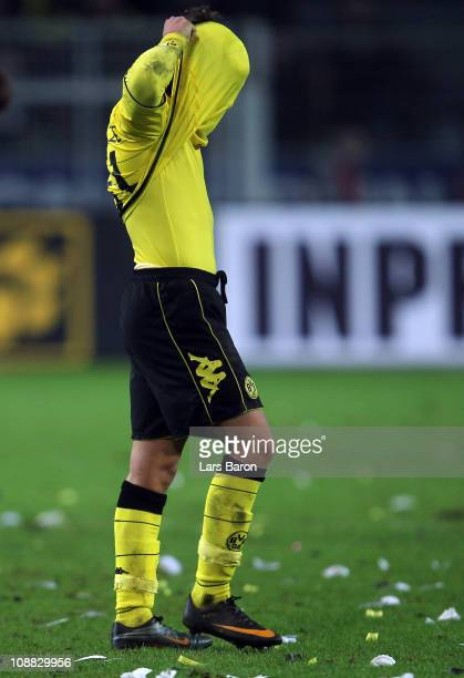 Mario Goetze of Dortmund is seen after the Bundesliga match between Borussia Dortmund and FC Schalke 04 at Signal Iduna Park on February 4 2011 in...