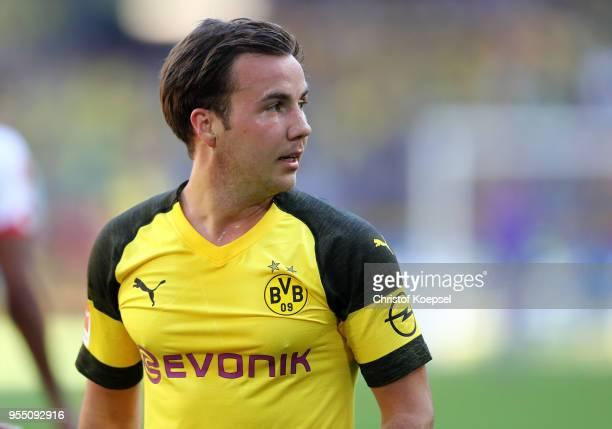 Mario Goetze of Dortmund is seen during the Bundesliga match between Borussia Dortmund and 1 FSV Mainz 05 at Signal Iduna Park on May 5 2018 in...