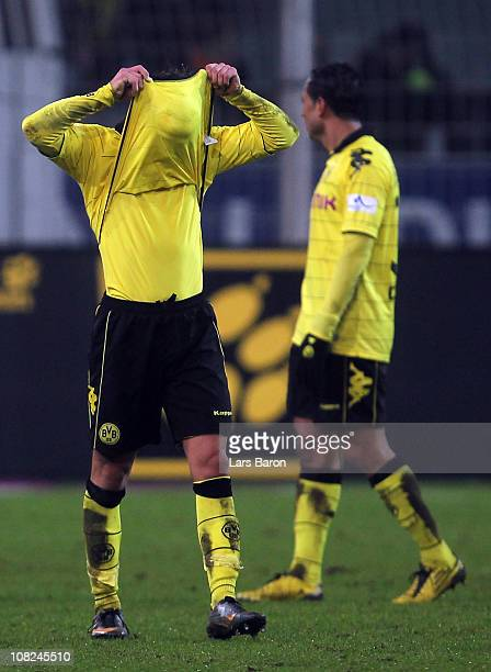 Mario Goetze of Dortmund looks dejected after the Bundesliga match between Borussia Dortmund and VfB Stuttgart at Signal Iduna Park on January 22...