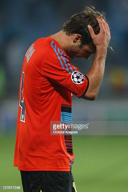 Mario Goetze of Dortmund looks looks dejected after losing 0-3 the UEFA Champions League group F match between Olympique Marseille and Borussia...
