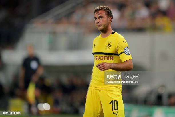 Mario Goetze of Dortmund looks on during the DFB Cup first round match between SpVgg Greuther Fuerth and BVB Borussia Dortmund at Sportpark Ronhof...