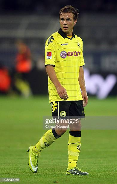 Mario Goetze of Dortmund looks on during the pre-season friendly match between Borussia Dortmund and Manchester City at Signal Iduna Park on August...