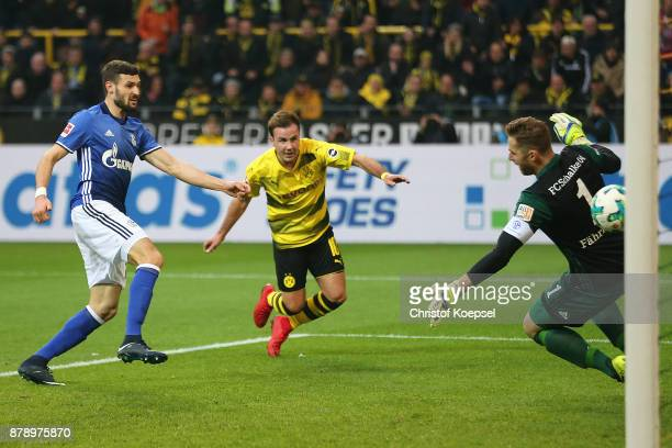 Mario Goetze of Dortmund scores a goal to make it 30 during the Bundesliga match between Borussia Dortmund and FC Schalke 04 at Signal Iduna Park on...