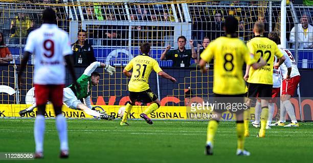 Mario Goetze of Dortmund scores his teams first goal during the Bundesliga match between Borussia Dortmund and SC Freiburg at Signal Iduna Park on...