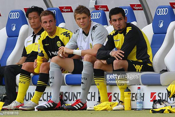 Mario Goetze of Dortmund sits on the becnh after his substitution during the Bundesliga macht between TSG 1899 Hoffenheim and Borussia Dortmund at...