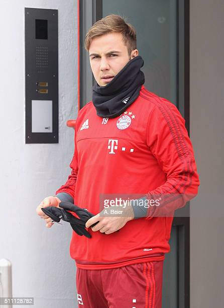 Mario Goetze of FC Bayern Muenchen arrives for a training session at the Saebener Strasse training ground on February 18 2016 in Munich Germany