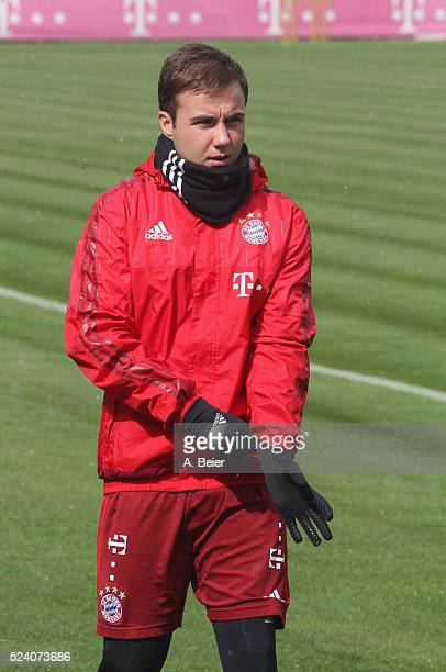 Mario Goetze of FC Bayern Muenchen arrives for the training session at the Saebener Strasse training ground on April 25 2016 in Munich Germany