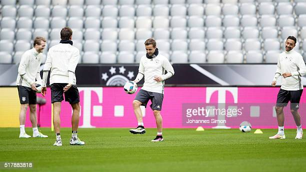 Mario Goetze of Germany and team mates participate in the training session ahead of the international friendly match between Germany and Italy at...