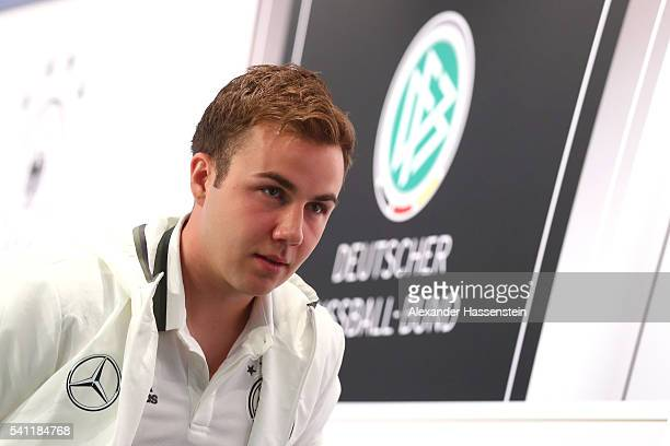 Mario Goetze of Germany arrives for a Germany press conference at Ermitage Evian on June 19 2016 in EvianlesBains France