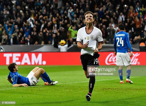 Mario Goetze of Germany celebrates after scoring the second goal during the International Friendly match between Germany and Italy at Allianz Arena...