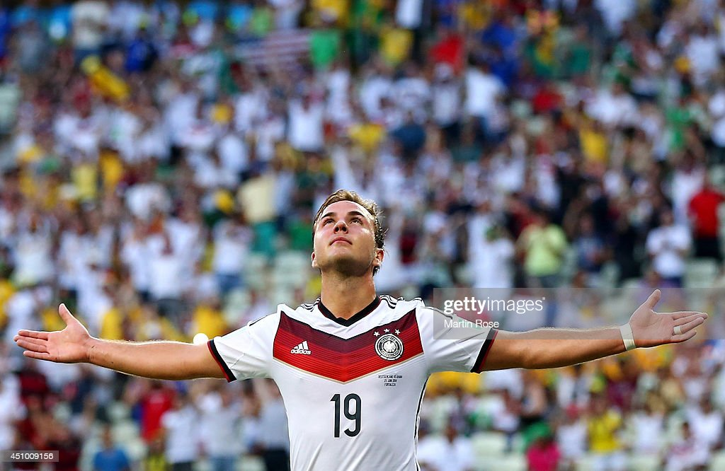 Mario Goetze of Germany celebrates scoring his team's first goal during the 2014 FIFA World Cup Brazil Group G match between Germany and Ghana at Castelao on June 21, 2014 in Fortaleza, Brazil.