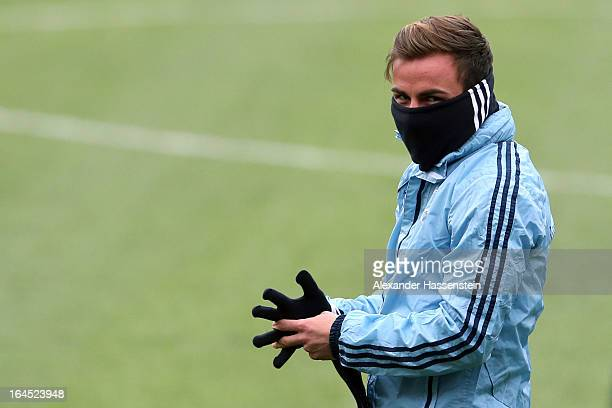 Mario Goetze of Germany looks on during a training session of the German national football team at GrundigStadion on March 24 2013 in Nuremberg...