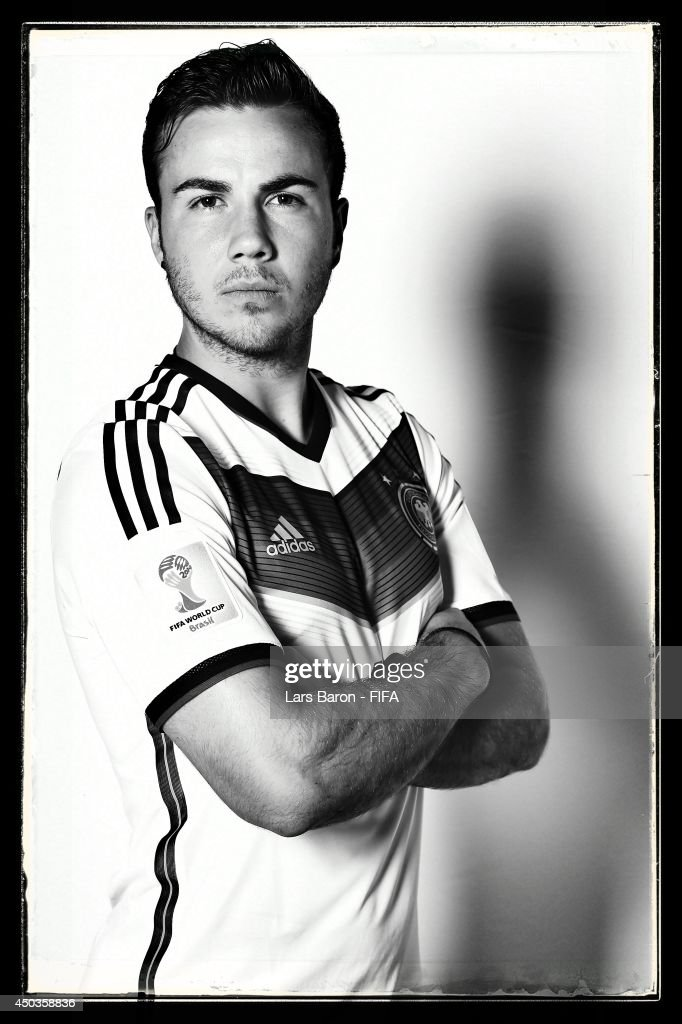 Mario Goetze of Germany poses during the official FIFA World Cup 2014 portrait session on June 8, 2014 in Salvador, Brazil.