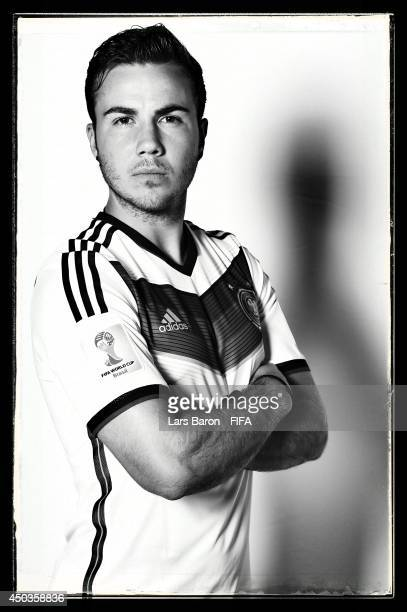Mario Goetze of Germany poses during the official FIFA World Cup 2014 portrait session on June 8 2014 in Salvador Brazil