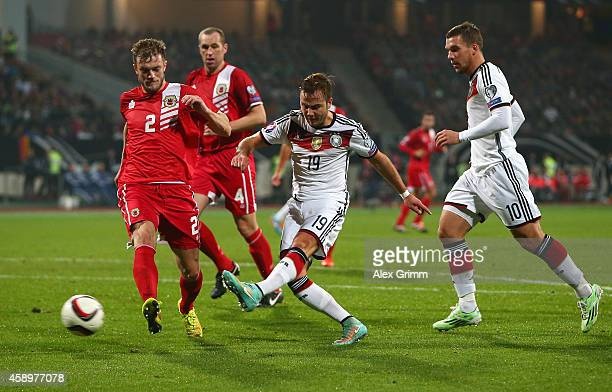 Mario Goetze of Germany scores Germany's third goal during the EURO 2016 Group D Qualifier match between Germany and Gibraltar at Grundig Stadion on...