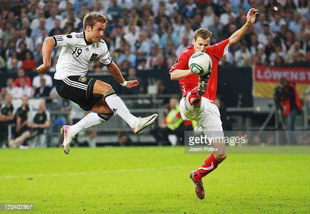Mario Goetze of Germany scores his team's sixth goal during the UEFA EURO 2012 qualifying match between Germany and Austria at VeltinsArena on...