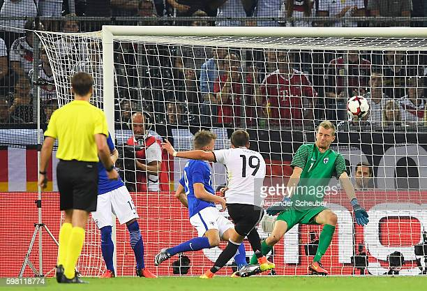 Mario Goetze of Germany shoots over during the International Friendly match between Germany and Finland at BorussiaPark on August 31 2016 in...