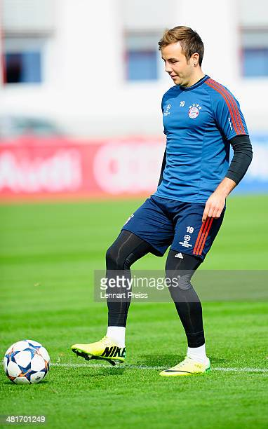Mario Goetze of Muenchen in action during a training session of FC Bayern Muenchen ahead of their UEFA Champions League quarter final first leg match...