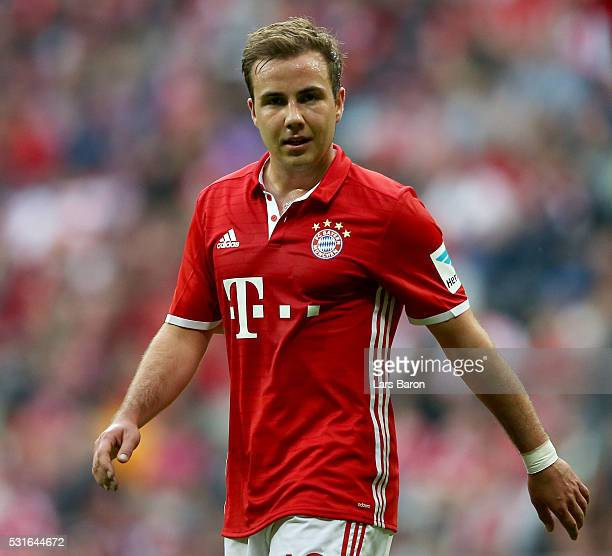Mario Goetze of Muenchen looks on during the Bundesliga match between FC Bayern Muenchen and Hannover 96 at Allianz Arena on May 14 2016 in Munich...