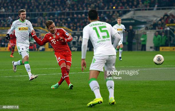 Mario Goetze of Muenchen scores his teams first goal during the Bundesliga match between Borussia Moenchengladbach and FC Bayern Muenchen at...